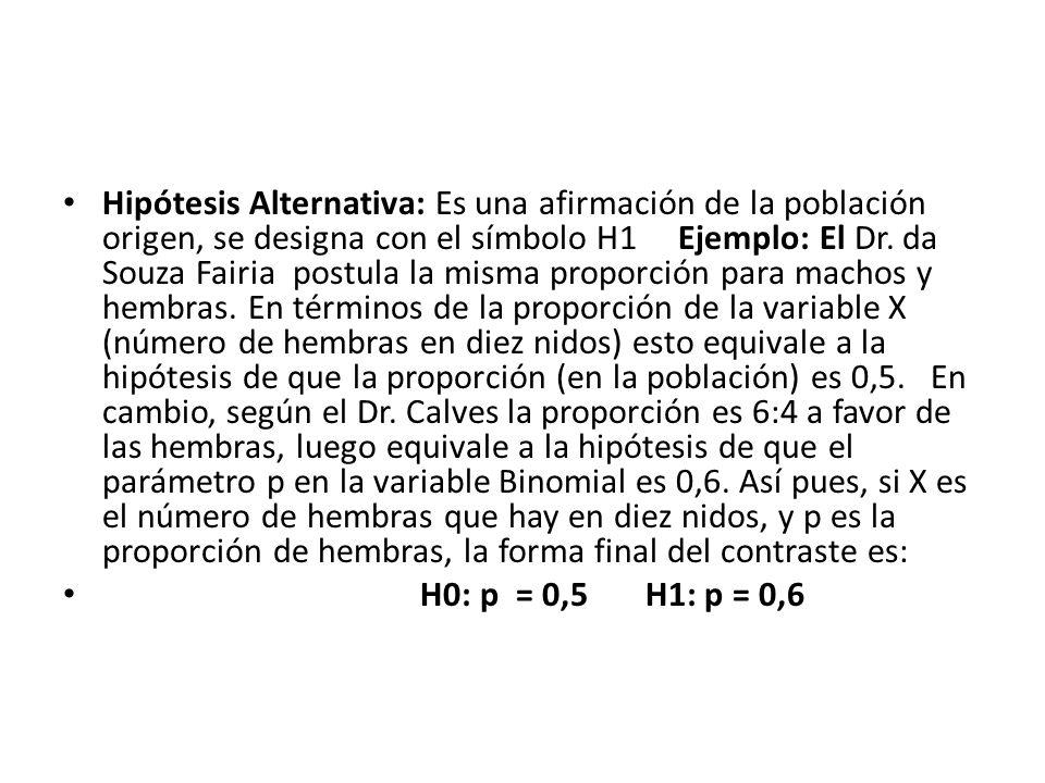 Hipótesis Alternativa: Es una afirmación de la población origen, se designa con el símbolo H1 Ejemplo: El Dr. da Souza Fairia postula la misma proporción para machos y hembras. En términos de la proporción de la variable X (número de hembras en diez nidos) esto equivale a la hipótesis de que la proporción (en la población) es 0,5. En cambio, según el Dr. Calves la proporción es 6:4 a favor de las hembras, luego equivale a la hipótesis de que el parámetro p en la variable Binomial es 0,6. Así pues, si X es el número de hembras que hay en diez nidos, y p es la proporción de hembras, la forma final del contraste es: