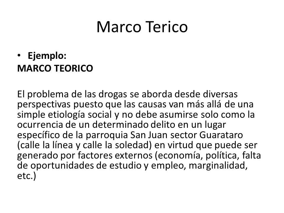 Marco Terico Ejemplo: MARCO TEORICO