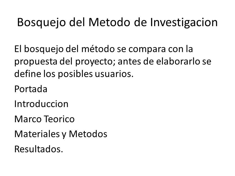 Bosquejo del Metodo de Investigacion