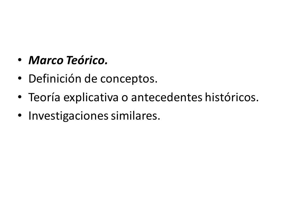 Marco Teórico. Definición de conceptos. Teoría explicativa o antecedentes históricos.