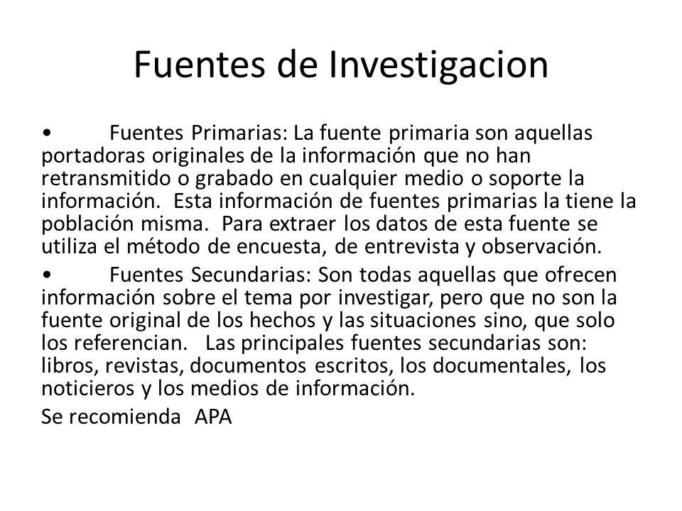 Fuentes de Investigacion
