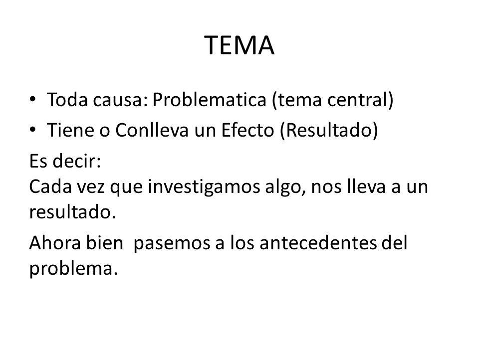 TEMA Toda causa: Problematica (tema central)