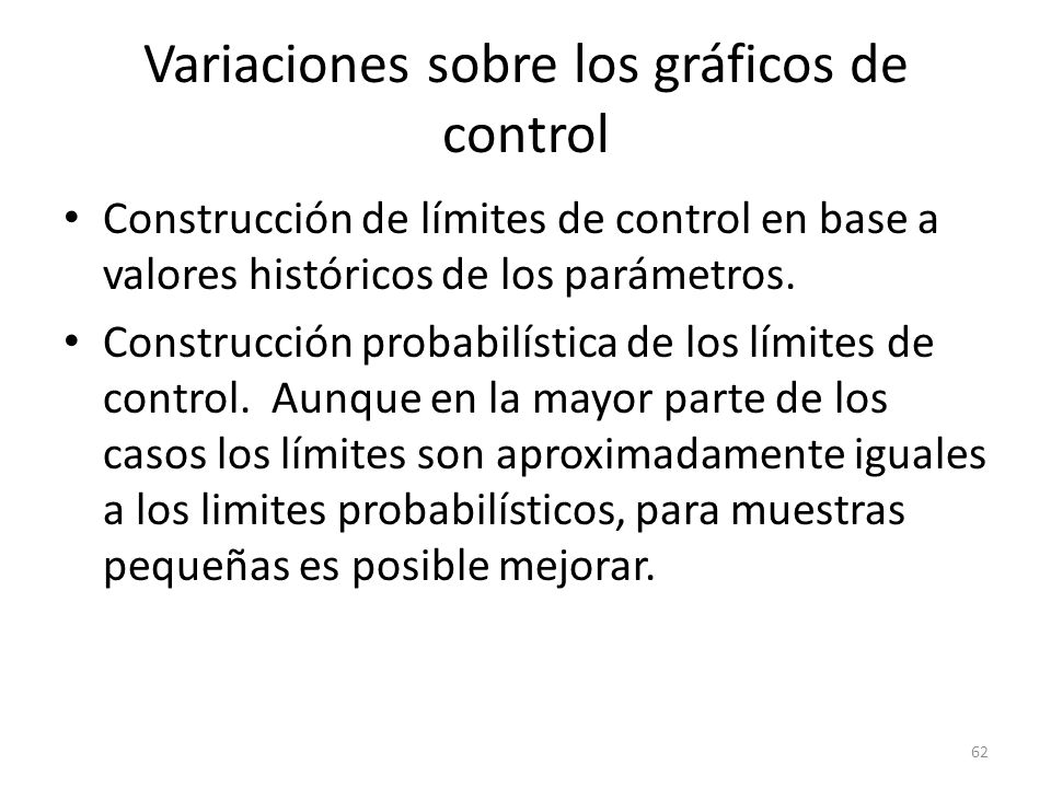 Variaciones sobre los gráficos de control