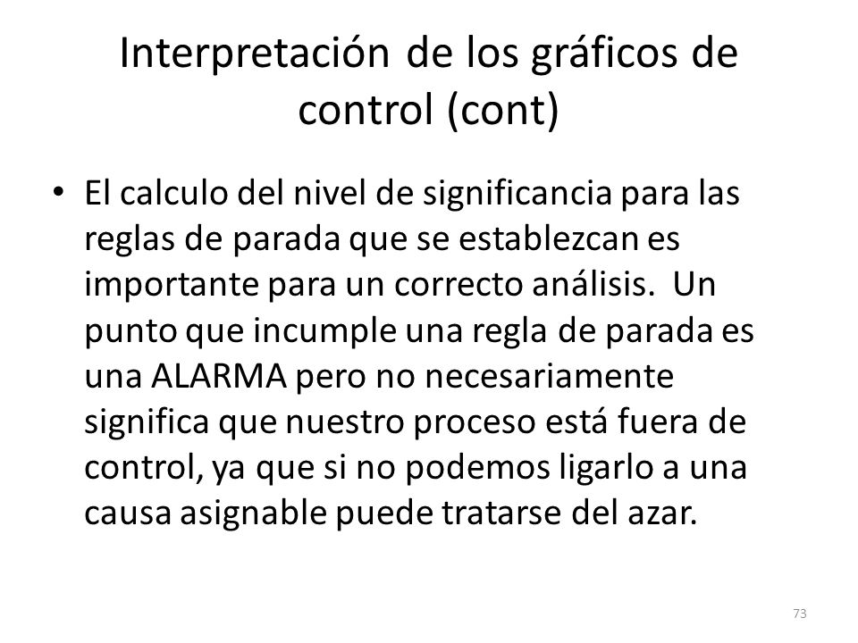 Interpretación de los gráficos de control (cont)