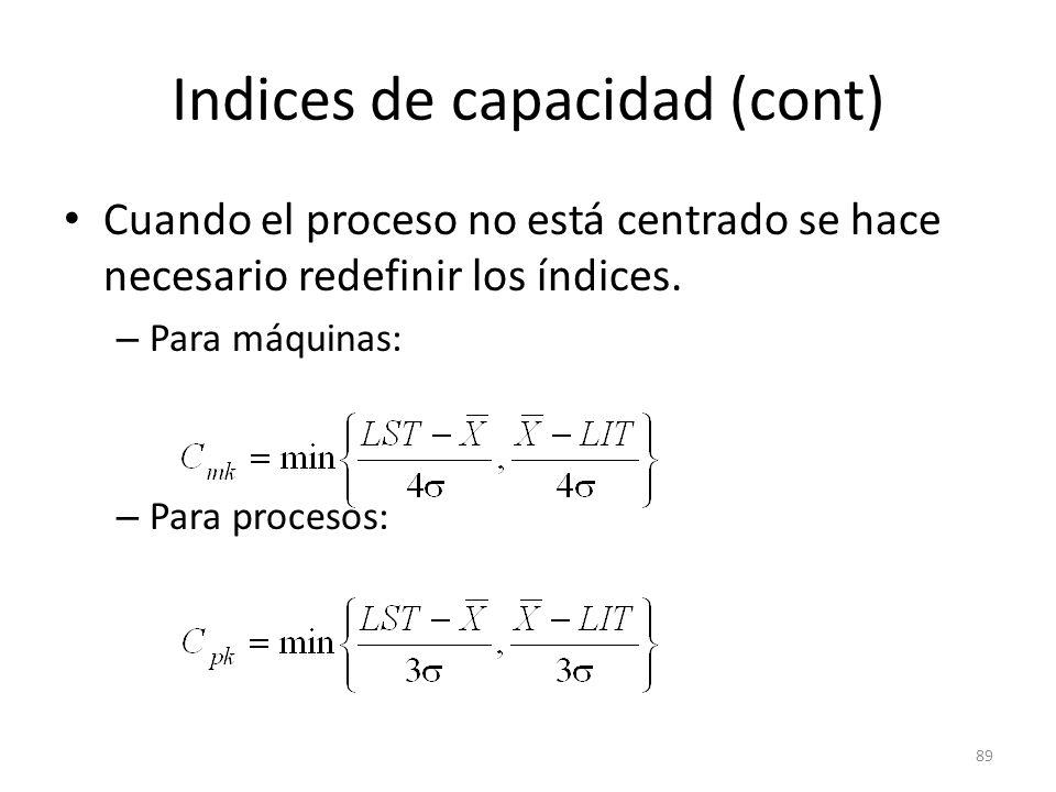 Indices de capacidad (cont)