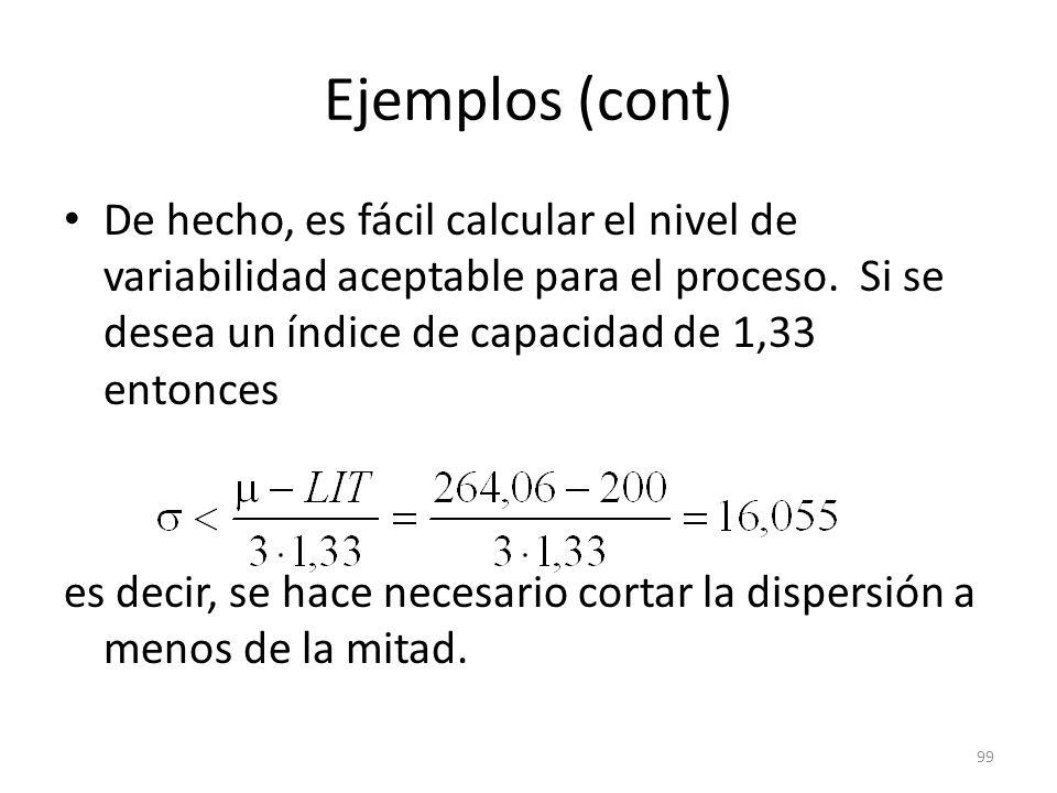 Ejemplos (cont) De hecho, es fácil calcular el nivel de variabilidad aceptable para el proceso. Si se desea un índice de capacidad de 1,33 entonces.