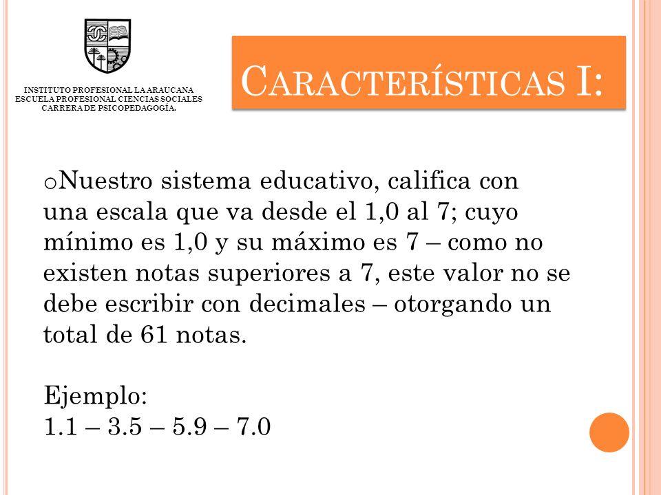 Características I: INSTITUTO PROFESIONAL LA ARAUCANA. ESCUELA PROFESIONAL CIENCIAS SOCIALES CARRERA DE PSICOPEDAGOGÍA.