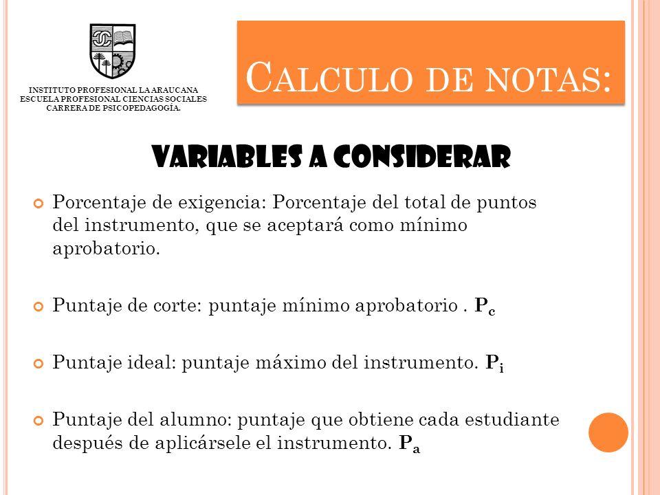 Calculo de notas: Variables a considerar