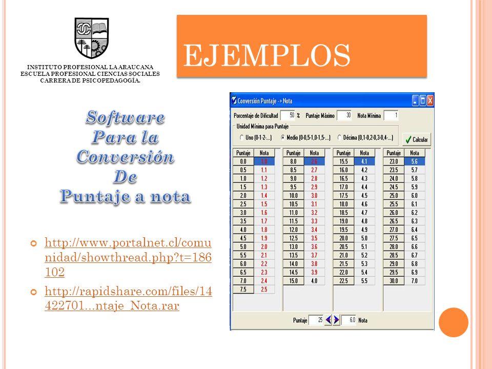 ejemplos Software Para la Conversión De Puntaje a nota