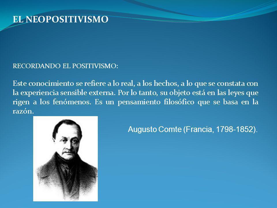 EL NEOPOSITIVISMO RECORDANDO EL POSITIVISMO: