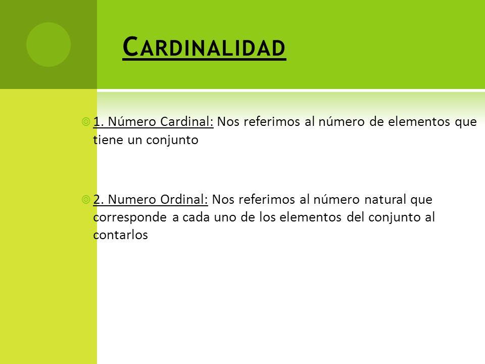 Cardinalidad 1. Número Cardinal: Nos referimos al número de elementos que tiene un conjunto.