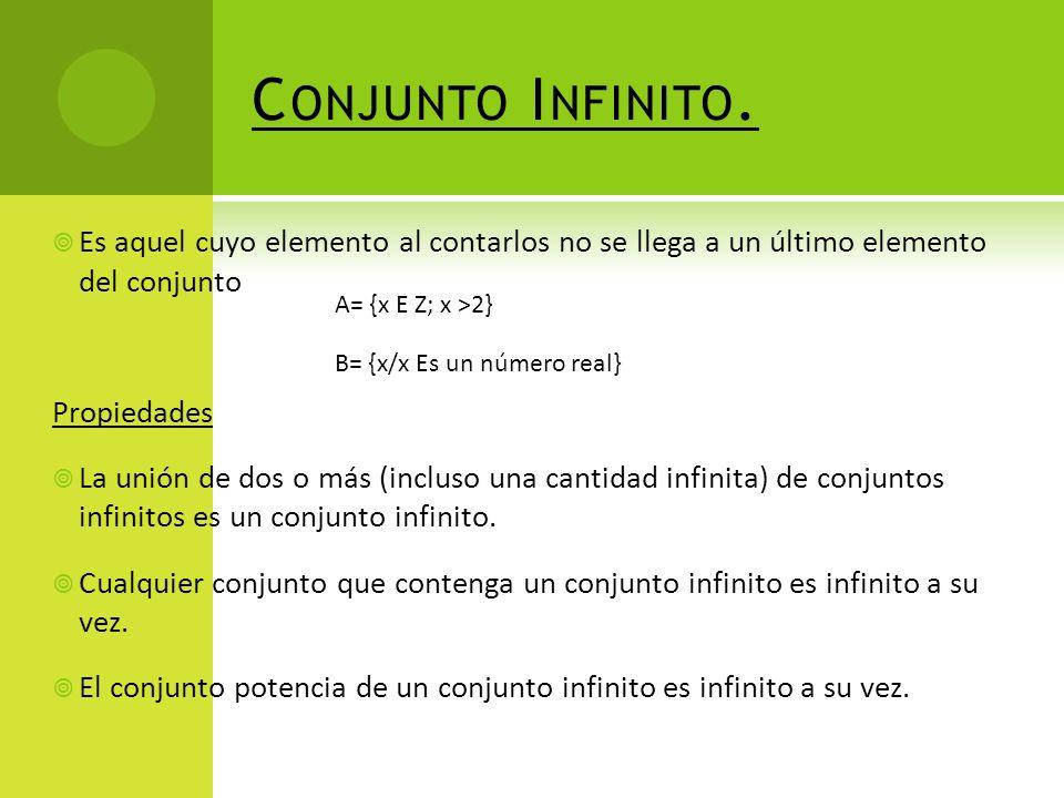 Conjunto Infinito. Es aquel cuyo elemento al contarlos no se llega a un último elemento del conjunto.