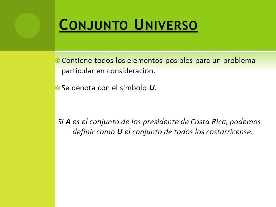 Conjunto Universo Contiene todos los elementos posibles para un problema particular en consideración.