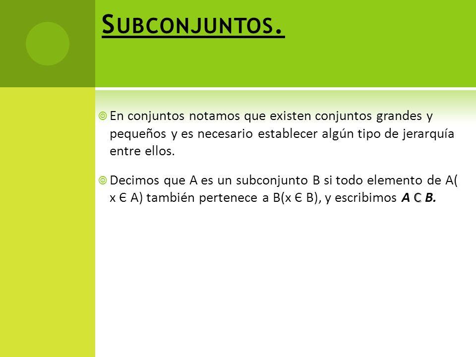 Subconjuntos. En conjuntos notamos que existen conjuntos grandes y pequeños y es necesario establecer algún tipo de jerarquía entre ellos.
