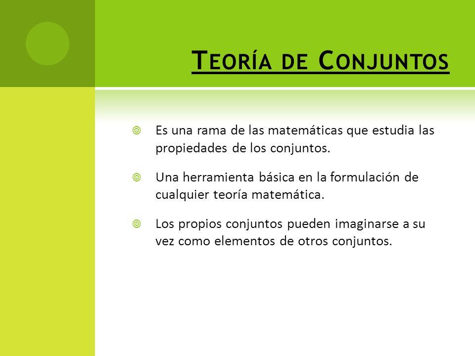 Teoría de Conjuntos Es una rama de las matemáticas que estudia las propiedades de los conjuntos.