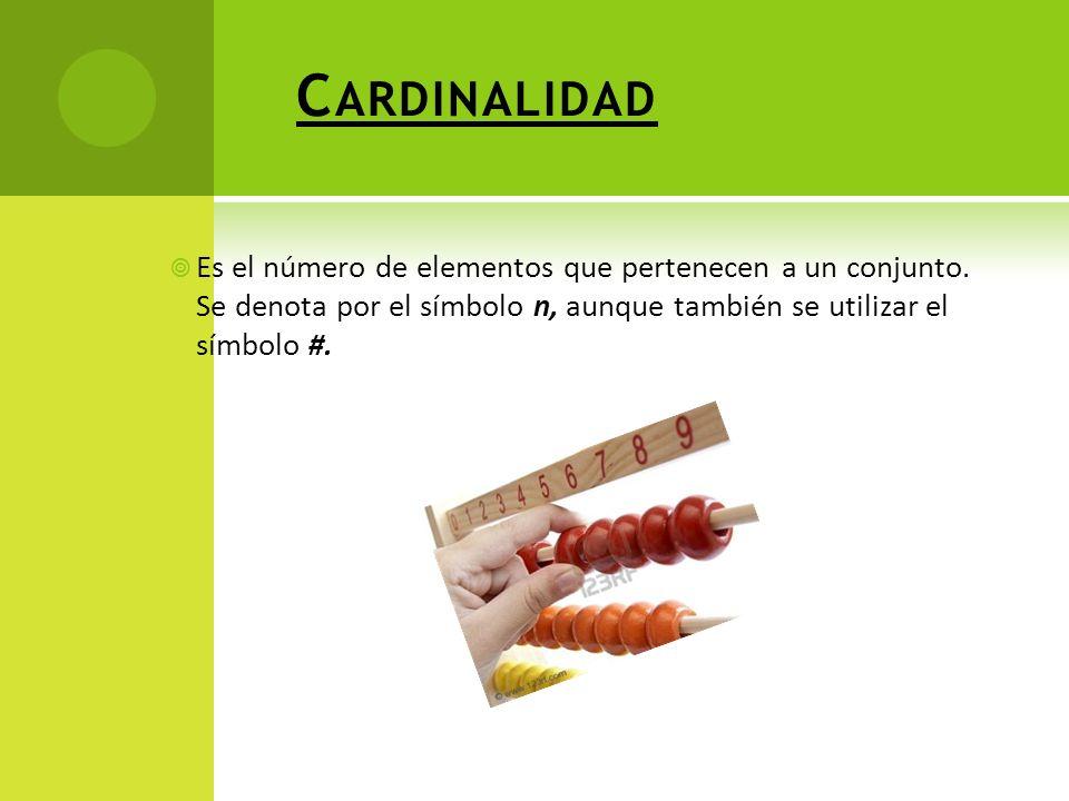 Cardinalidad Es el número de elementos que pertenecen a un conjunto.