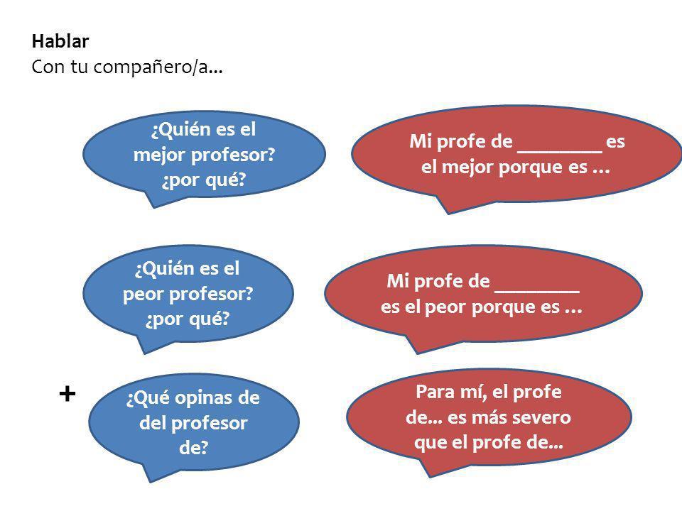 + Hablar Con tu compañero/a... ¿Quién es el mejor profesor