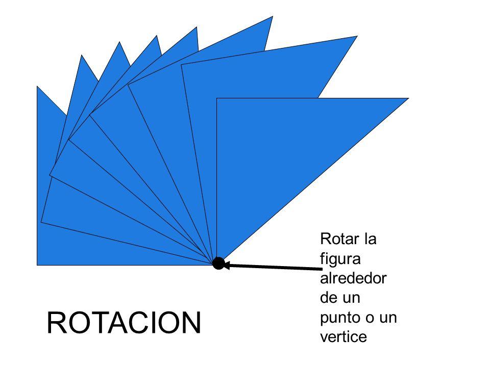 Rotar la figura alrededor de un punto o un vertice