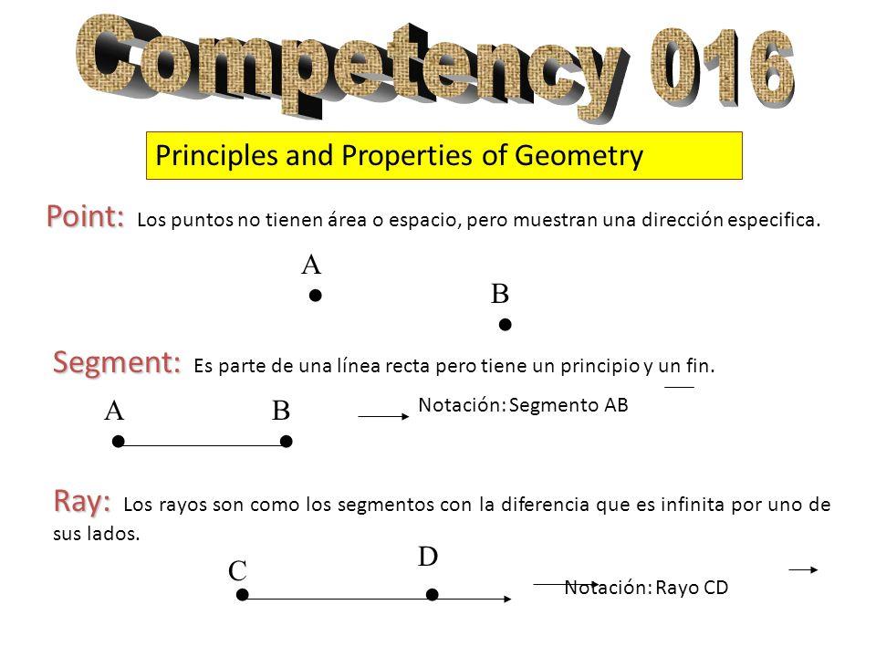 Competency 016 Principles and Properties of Geometry. . A. Point: Los puntos no tienen área o espacio, pero muestran una dirección especifica.