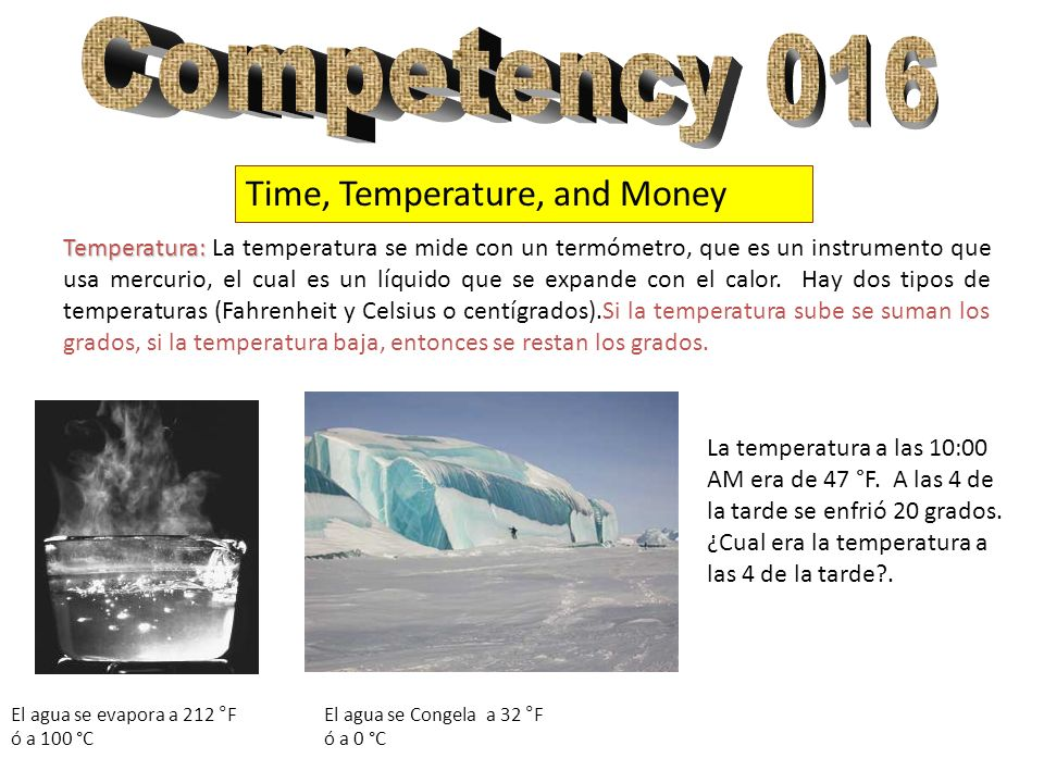 Competency 016 Time, Temperature, and Money