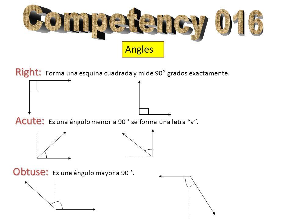 Competency 016 Angles. Right: Forma una esquina cuadrada y mide 90° grados exactamente. Acute: Es una ángulo menor a 90 ° se forma una letra v .