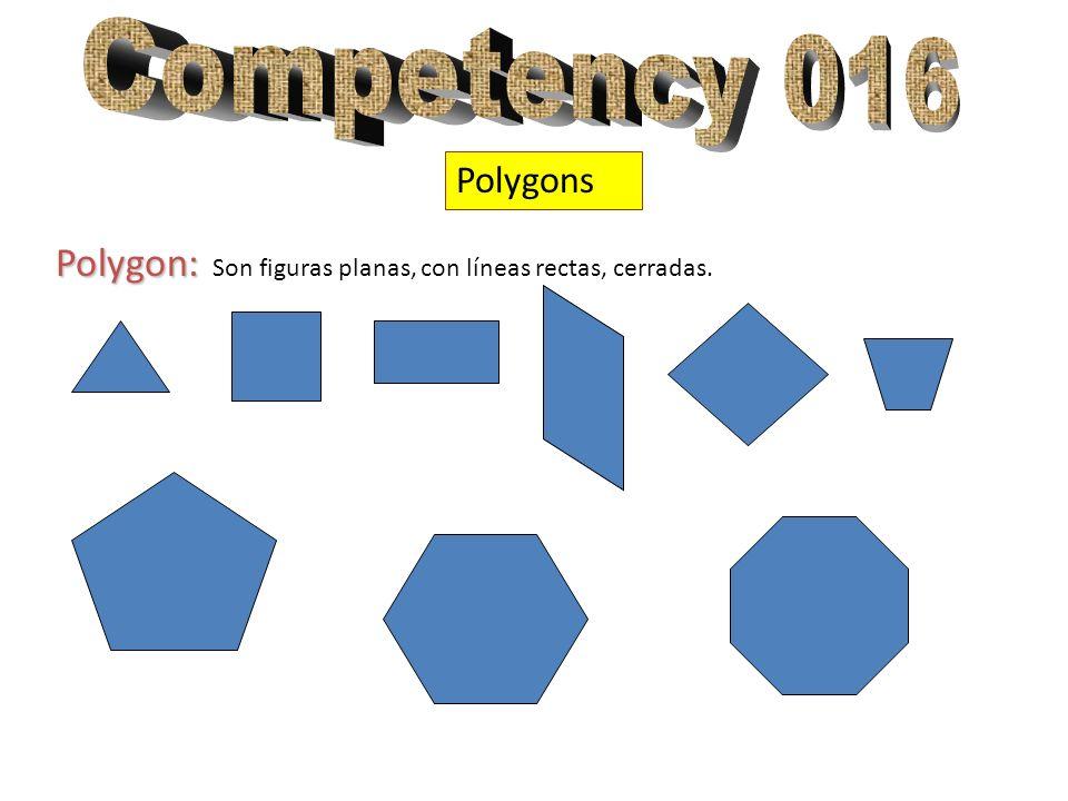 Competency 016 Polygons Polygon: Son figuras planas, con líneas rectas, cerradas.