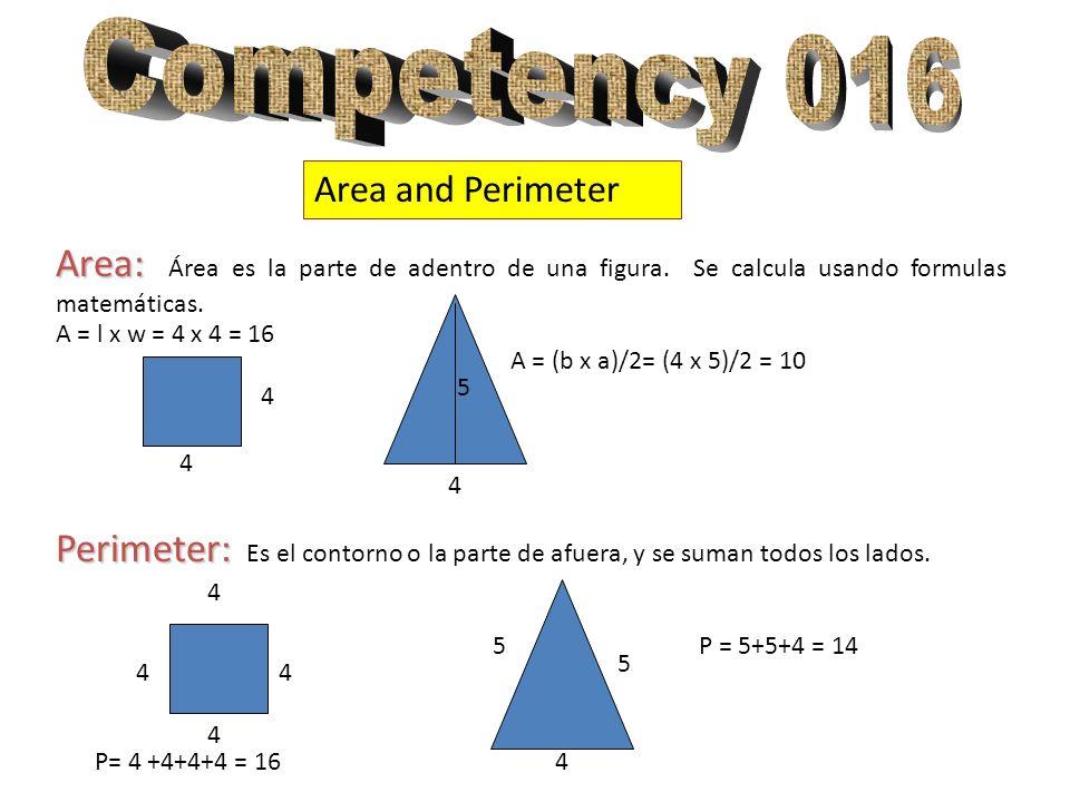 Competency 016 Area and Perimeter. Area: Área es la parte de adentro de una figura. Se calcula usando formulas matemáticas.