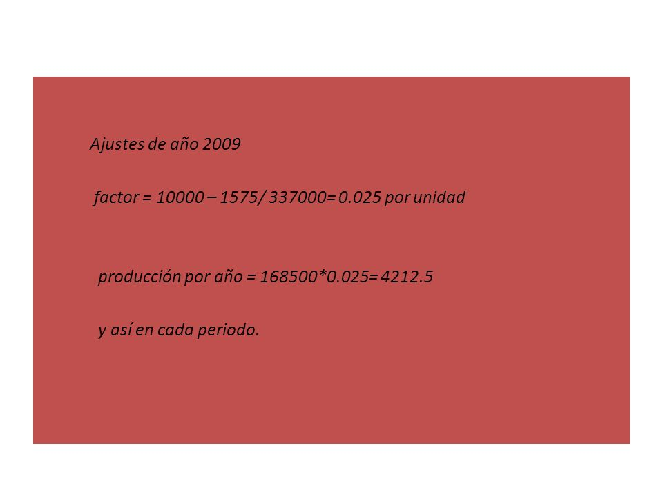 Ajustes de año 2009 factor = 10000 – 1575/ 337000= 0