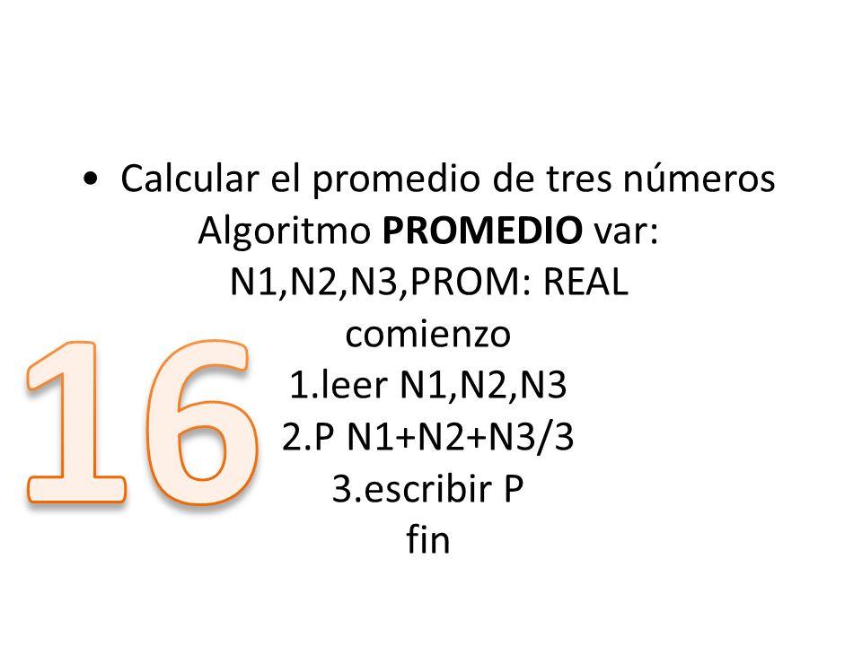 16 • Calcular el promedio de tres números Algoritmo PROMEDIO var: N1,N2,N3,PROM: REAL comienzo 1.leer N1,N2,N3 2.P N1+N2+N3/3 3.escribir P fin.