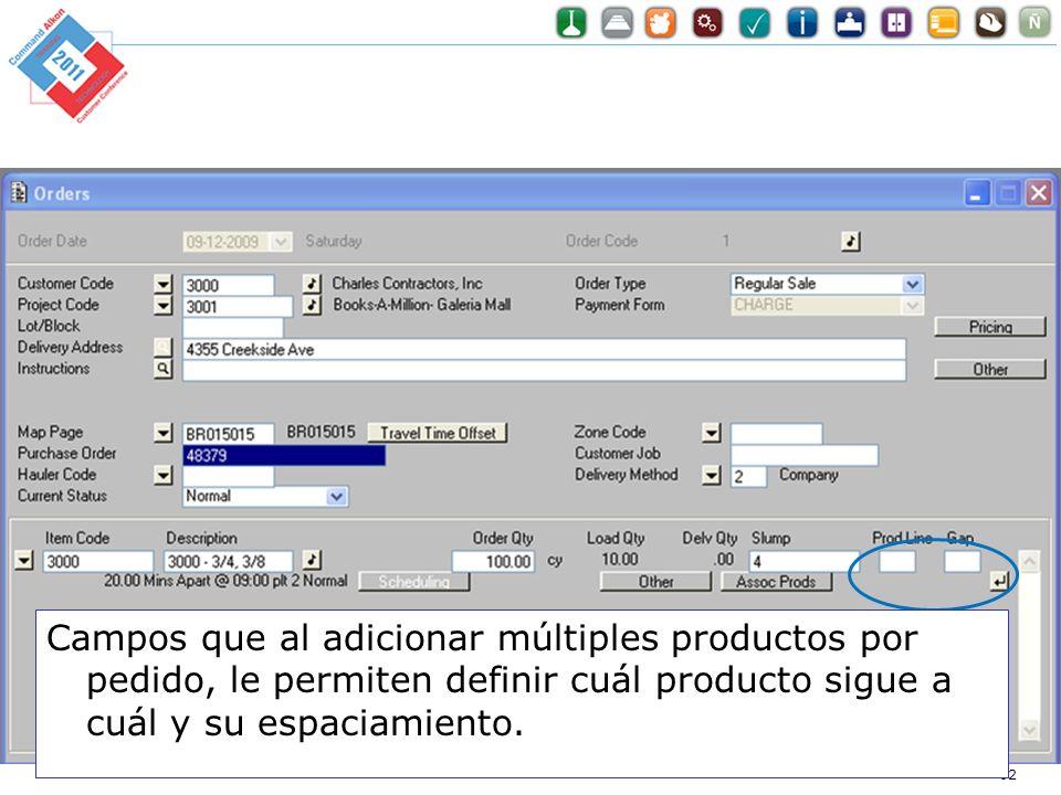 Campos que al adicionar múltiples productos por pedido, le permiten definir cuál producto sigue a cuál y su espaciamiento.