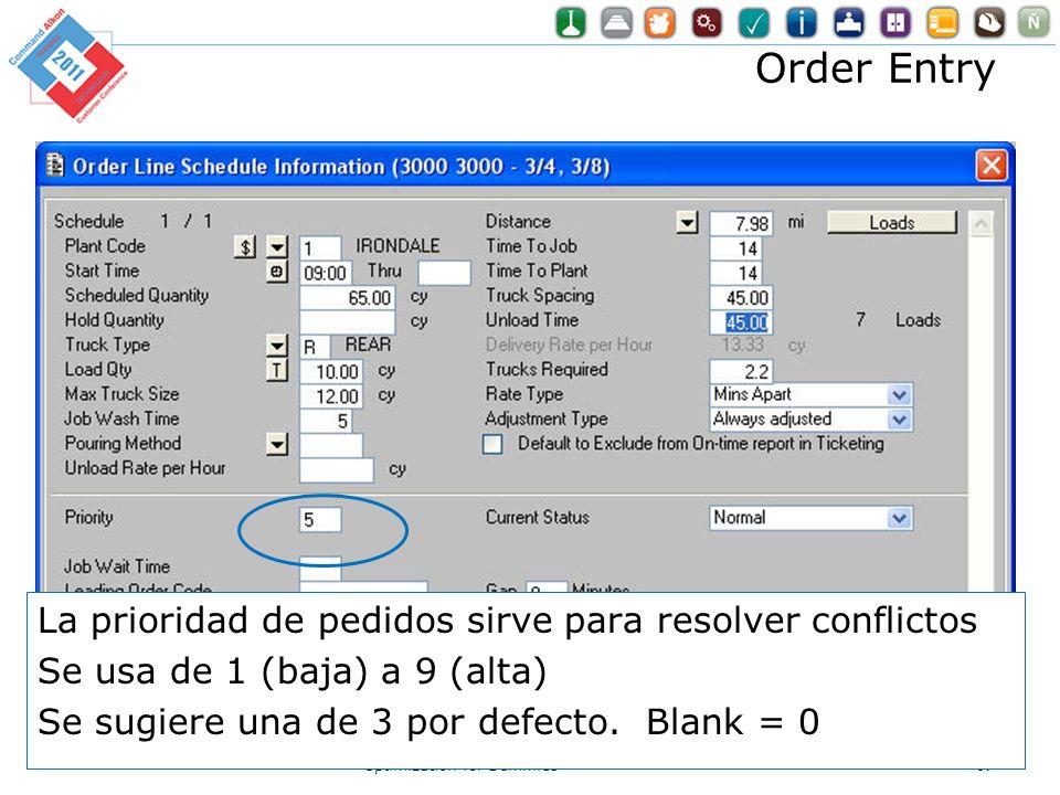 Order Entry La prioridad de pedidos sirve para resolver conflictos