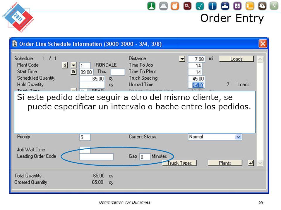 Order Entry Si este pedido debe seguir a otro del mismo cliente, se puede especificar un intervalo o bache entre los pedidos.