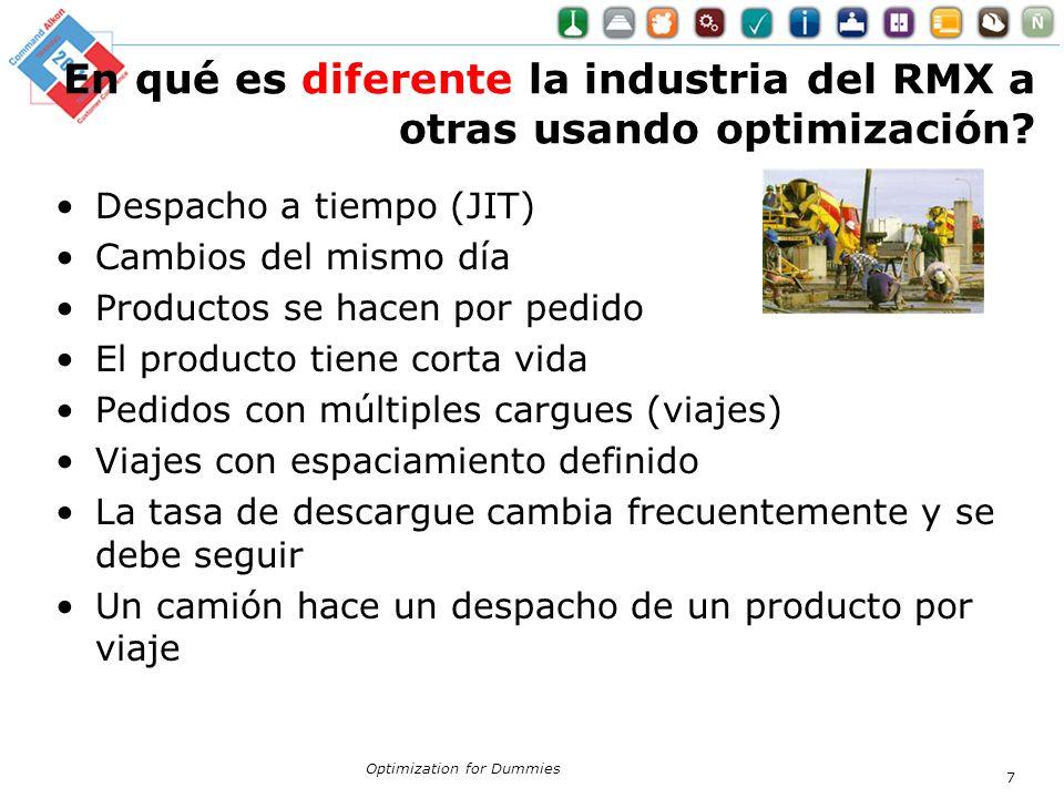 En qué es diferente la industria del RMX a otras usando optimización