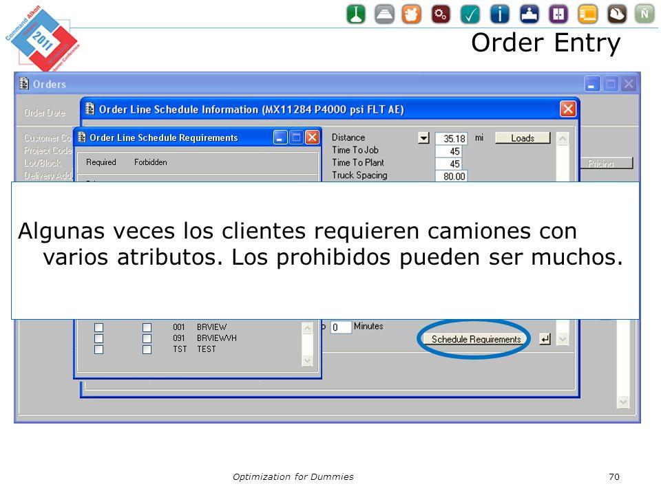 Order Entry Algunas veces los clientes requieren camiones con varios atributos. Los prohibidos pueden ser muchos.