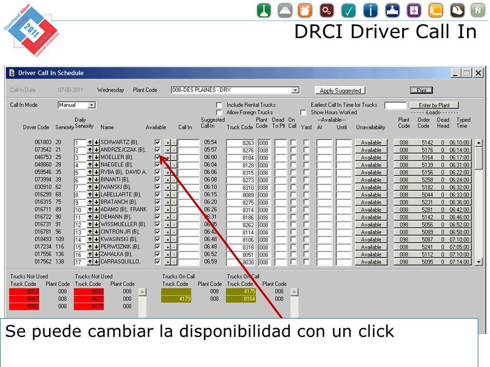 DRCI Driver Call In Se puede cambiar la disponibilidad con un click