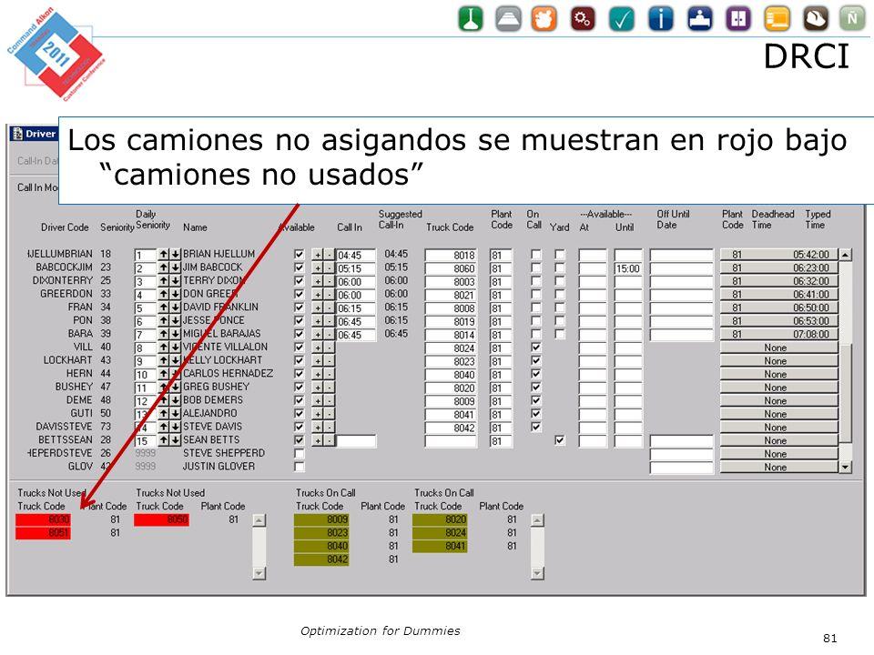 DRCI Los camiones no asigandos se muestran en rojo bajo camiones no usados Optimization for Dummies.
