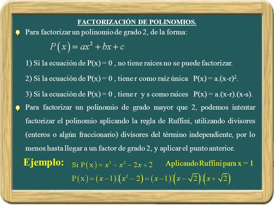 FACTORIZACIÓN DE POLINOMIOS.