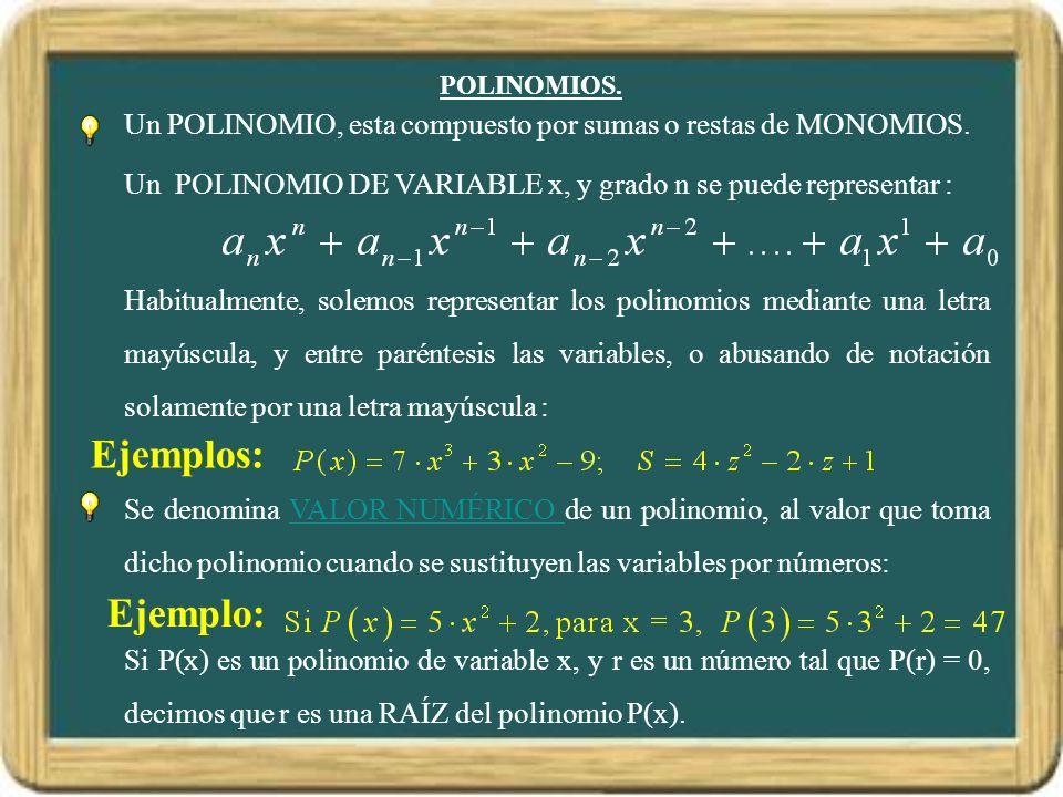 POLINOMIOS. Un POLINOMIO, esta compuesto por sumas o restas de MONOMIOS. Un POLINOMIO DE VARIABLE x, y grado n se puede representar :