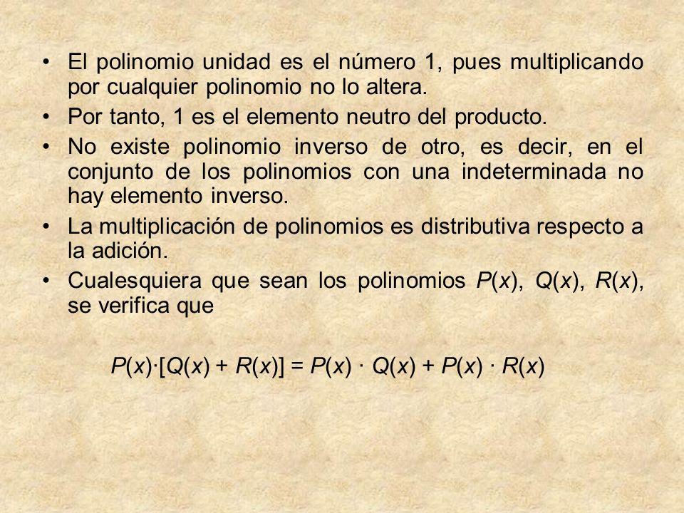El polinomio unidad es el número 1, pues multiplicando por cualquier polinomio no lo altera.