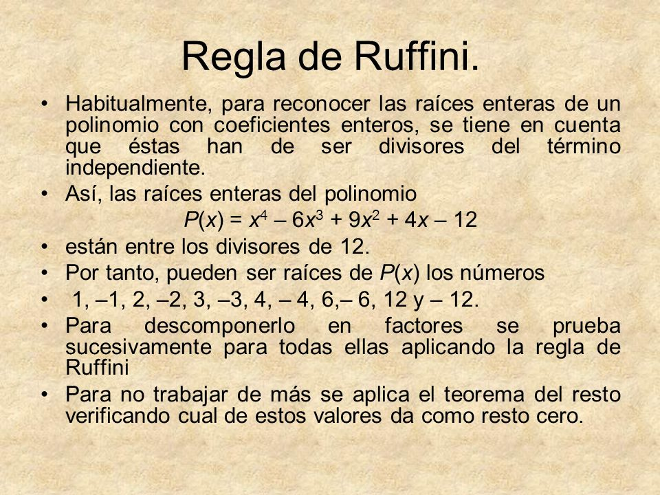 Regla de Ruffini.