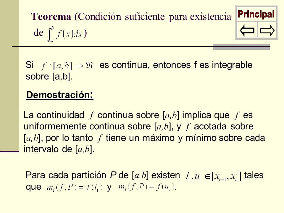 Teorema (Condición suficiente para existencia de )