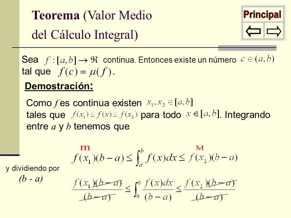 Principal m M Teorema (Valor Medio del Cálculo Integral)