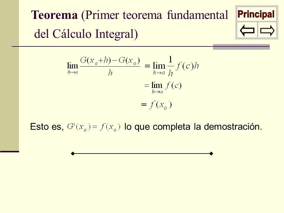 Principal Teorema (Primer teorema fundamental del Cálculo Integral)