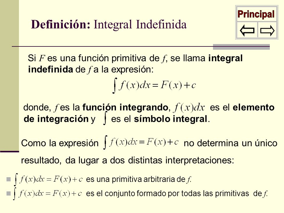 Principal Definición: Integral Indefinida