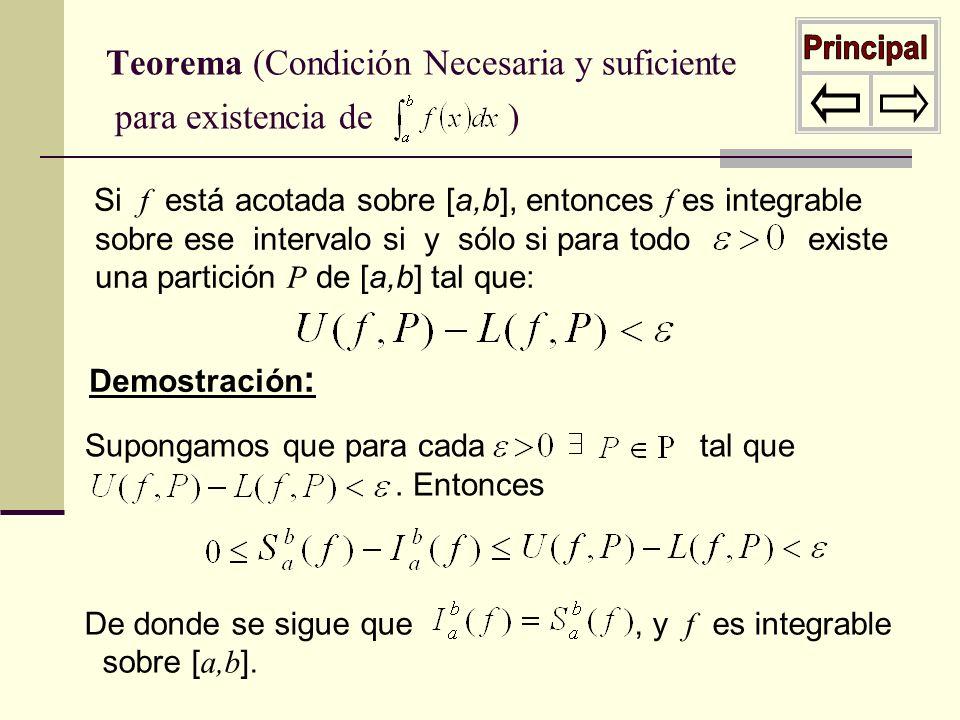 Teorema (Condición Necesaria y suficiente para existencia de )