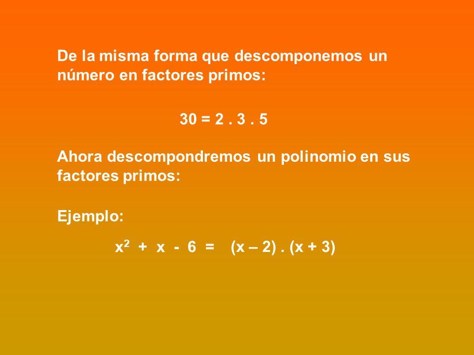 De la misma forma que descomponemos un número en factores primos: