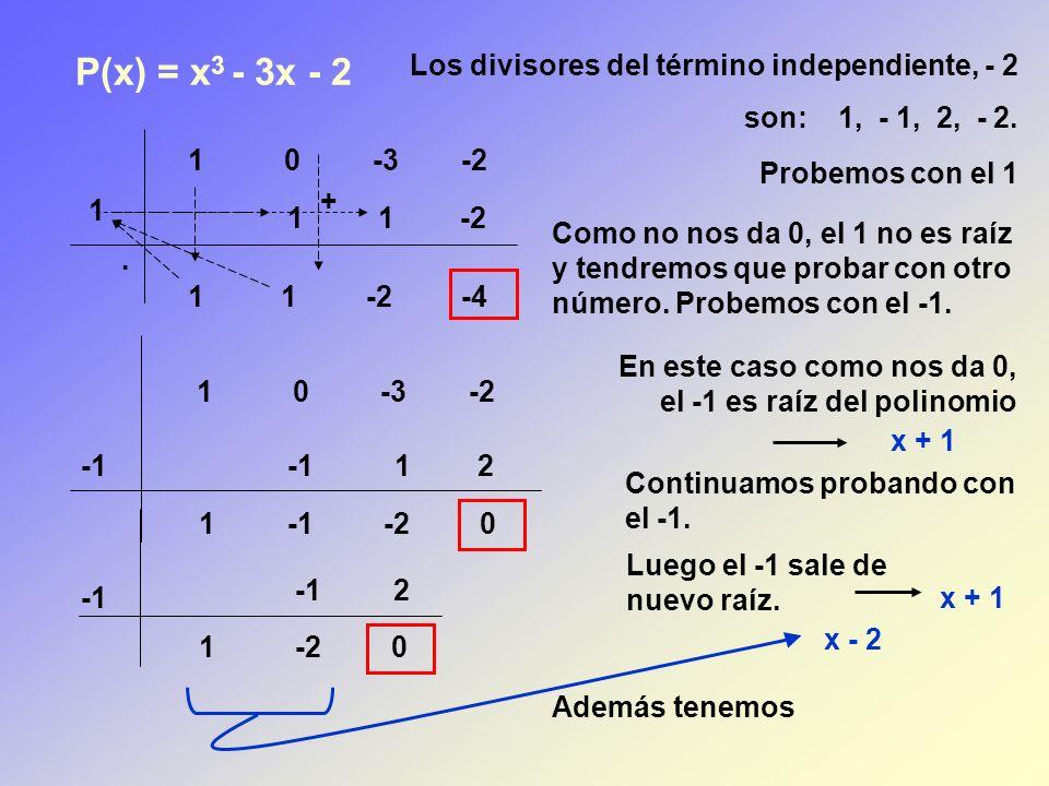P(x) = x3 - 3x - 2 Los divisores del término independiente, - 2