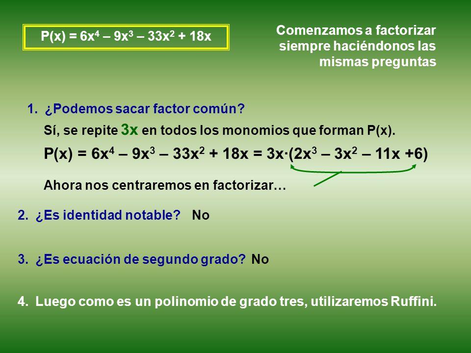 P(x) = 6x4 – 9x3 – 33x2 + 18x = 3x·(2x3 – 3x2 – 11x +6)