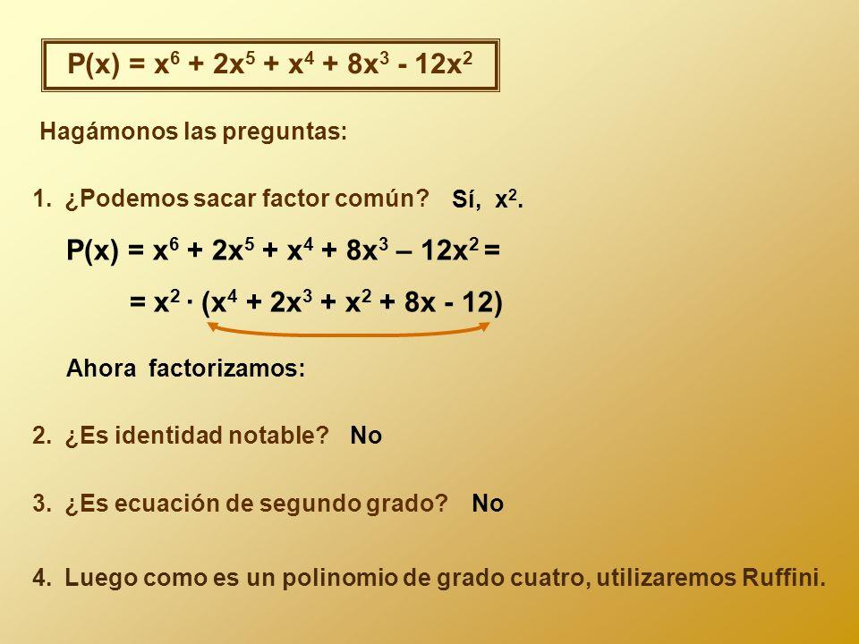 P(x) = x6 + 2x5 + x4 + 8x3 - 12x2 P(x) = x6 + 2x5 + x4 + 8x3 – 12x2 =