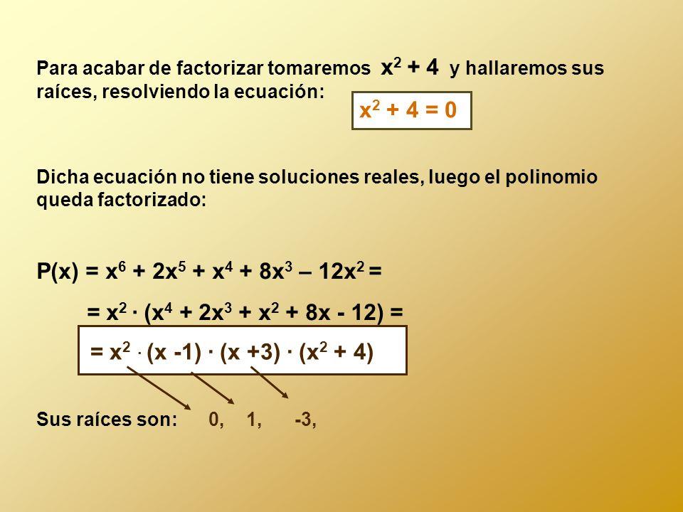 Para acabar de factorizar tomaremos x2 + 4 y hallaremos sus raíces, resolviendo la ecuación: